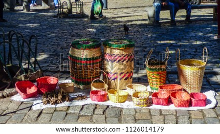 Traditional baskets made by Kaingang indigenous people on sale at Largo da Alfandega Square in downtown Florianopolis