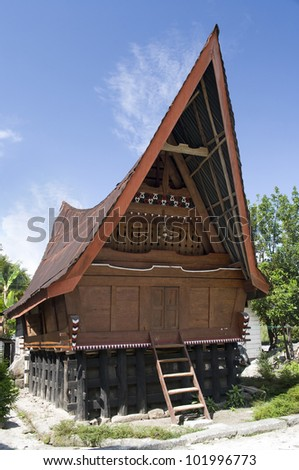Traditional Batak house on the Samosir island,North Sumatra, Indonesia,