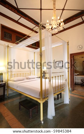 traditional bedroom in a heritage hotel in Indonesia