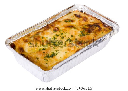 Traditional beef lasagna with béchamel sauce and fresh spinach in takeout container. Isolated on white.