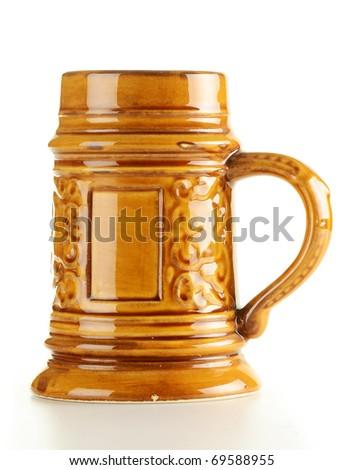 Traditional beer mug isolated on white background