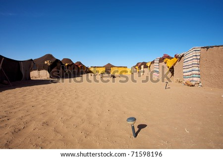 Traditional berber camp site in the Sahara desert dunes of Merzouga in Morocco
