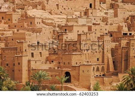 Traditional berber clay ksar kasbah Ait Ben Haddou in Sahara desert, Morocco. This place is famous for being used as film set for many Hollywood movies.
