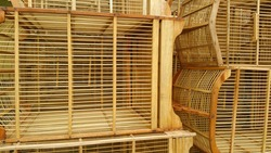 Traditional bird cage texture background made of bamboo. This bird cage is sold in traditional markets in Java, Indonesia for the pet bird lover community