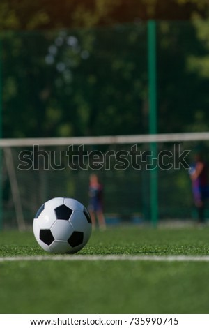 Traditional black and white soccer ball on green grass playground. Football game, Outdoors activity, summer sunny day. #735990745