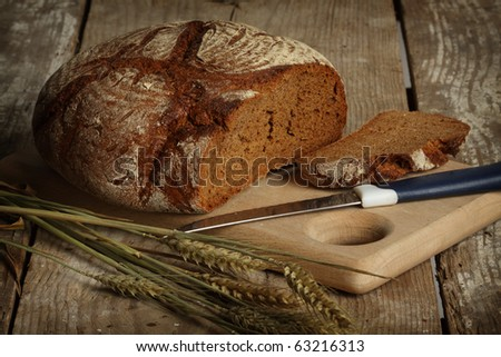 Traditional black rye-bread on vintage table
