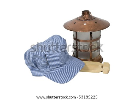 Traditional blue and white twill striped railroad engineer hat with a lantern and train whistle - path included