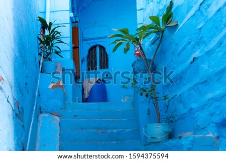 Traditional Blue coloured house of Jodhpur city, Rajsthan, India. Historically, Hindu Brahmins used to paint their houses in blue for being upper caste, the tradition is being followed till date.