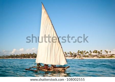 traditional boat sailing in Zanzibar