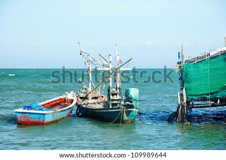 Traditional boats in Takiab bay , Huahin , Thailand - stock photo