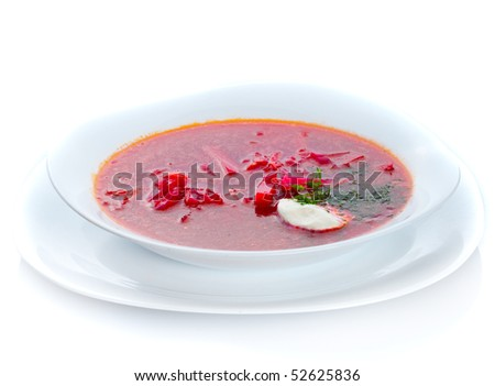Traditional borscht plate - famous Ukrainian cuisine