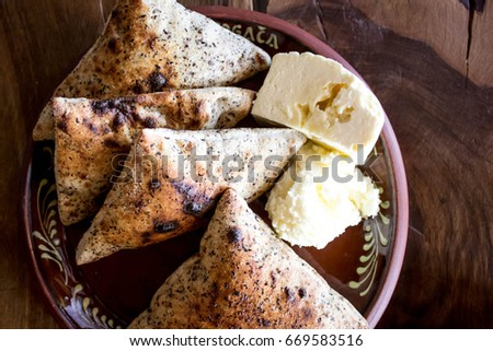 Traditional Bosnian breakfast, buckwheat, homemade bread, homemade yogurt, homemade cheese #669583516
