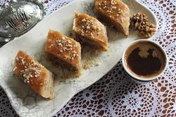 Traditional bosnian dessert baklava with walnuts