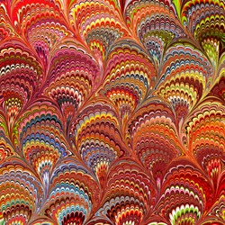 Traditional bouquet style marbling as seen in exotic fabrics, papers and book bindings