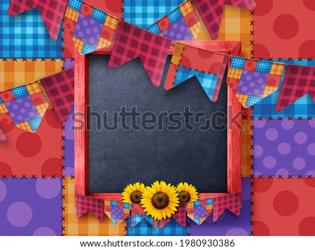 Traditional Brazil June Festival on a Yellow background with colored flags. Festa de sao Joao. 3D Illustration.