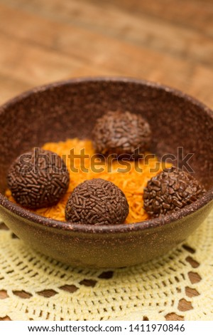 Traditional Brazilian chocolate candy called brigadeiro in coffee gourmet version #1411970846