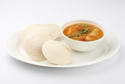Traditional breakfast of South India IDLY served with sambar & Chutney