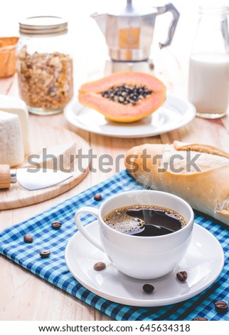 Traditional breakfast with espresso #645634318