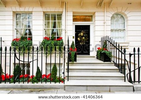 Traditional British home front with Christmas decoration