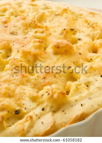 Traditional british homemade Shepherd's pie. Shallow dof.