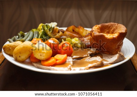 Traditional British Roast beef dinner side view Stock photo ©
