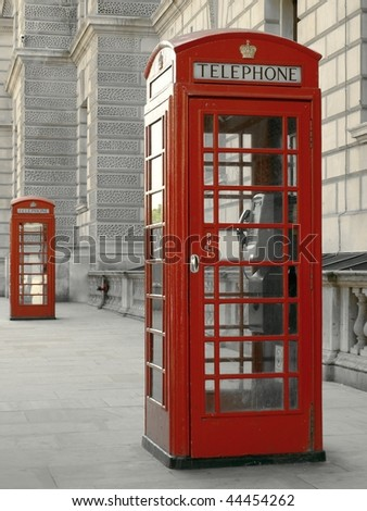 Traditional British Telephone Box on a London Street