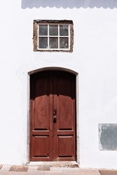 Traditional brown painted door in canarian colonial style house in the old town of Santa Cruz de La Palma, in the quarter of San Sebastian, also known as La Canela