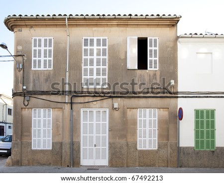 traditional building in a small town on Mallorca island in Spain - stock photo