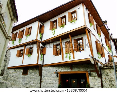 Traditional building in Safranbolu old city situated in deep fairly dry area in Turkey. Safranbolu Old Town preserves historic buildings, with 1008 UNESCO registered historical artifacts.