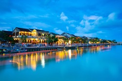 Traditional buildings on the waterfront in the UNESCO heritage town of Hoi An in the Quang Nam Province of Vietnam