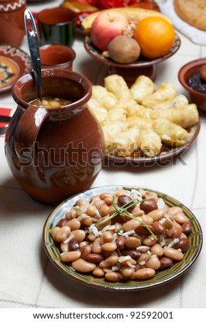 Traditional Bulgarian beans food in Christmas Eve table
