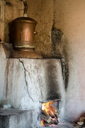 Traditional Bulgarian distillery for making Rakia brandy