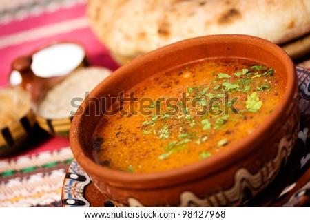traditional bulgarian food; delicious homemade bean soup