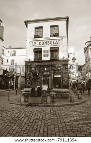 Traditional café in Paris, France