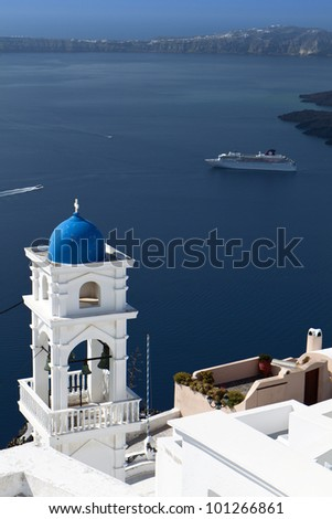 Traditional campanile at Santorini island in Greece