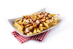 Traditional Canadian Poutine isolated on white background