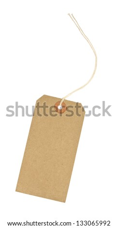 traditional cardboard price tag with white string threaded through the reinforced hole isolated against a white background