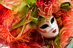 Traditional carnival mask at Annecy festival, France