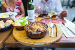 Traditional Cassoulet dish served at a Toulouse restaurant