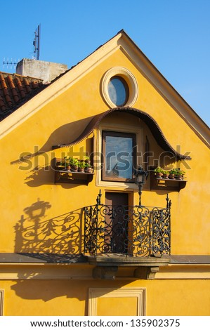 Traditional central european architecture: decorated window