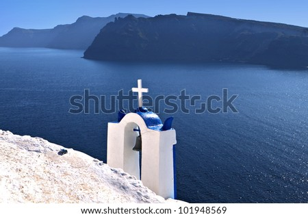 Traditional chapel at Santorini island in Greece