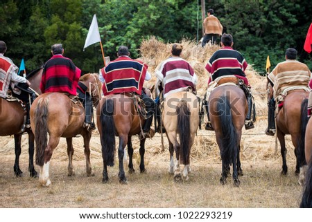 """Traditional chilean huasos riding their horses on an event called """"trilla a yegua suelta"""""""