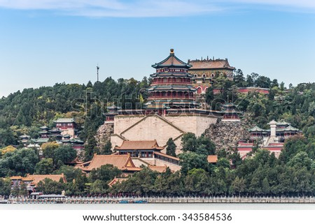 Traditional Chinese Architecture: Summer Palace in Beijing #343584536