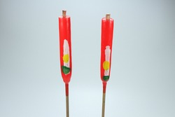 Traditional Chinese candle on white background. Famous red candle using in ancient ceremony.