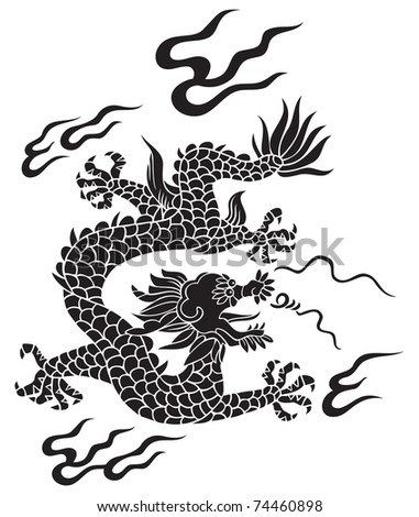 Traditional Chinese dragon, lord of air and water, raster from vector illustration