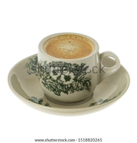 Traditional Chinese Floral Coffee Kopi Cup With Saucer Thick