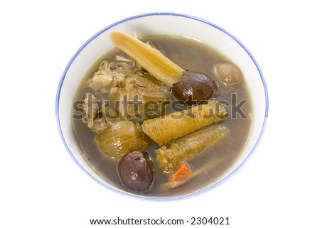 Traditional Chinese herbal chicken soup on white background
