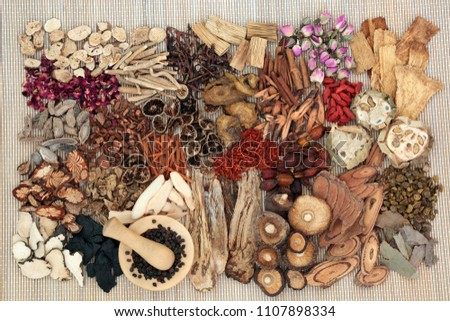 Traditional chinese herbs used in alternative herbal medicine with mortar and pestle on bamboo background.