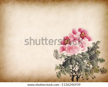 Traditional chinese ink and wash painting of peony flower