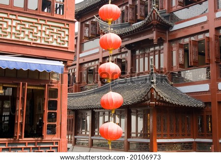 Traditional Chinese lamps and pavilions in the Yu Yuan Bazaar, popular shopping area, Shanghai, China